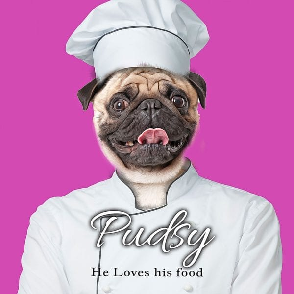 Your pet as a chef. This hillariuous and beautiful gift - your pet painted in chefs uniform.