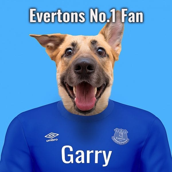 Everton Pet Portrait. Great gift for soccer fan. Their pet portrait on A gloss ceramic. Comes all ready framed - so no need of extra expense. Picture Parcel Pet Portraits are handmade personalised gifts that look great in any home. These can be wall hung or table top display.