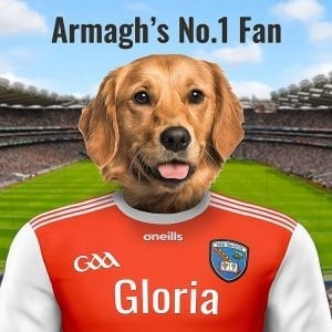 Armagh GAA fan pet Portrait. Your pet portrait on ceramic in a real-wood frame. Handmade GAA gift from Ireland, delivered worldwide. Picture Parcel GAA Pet Portraits are the perfect gift for Armagh GAA fans.