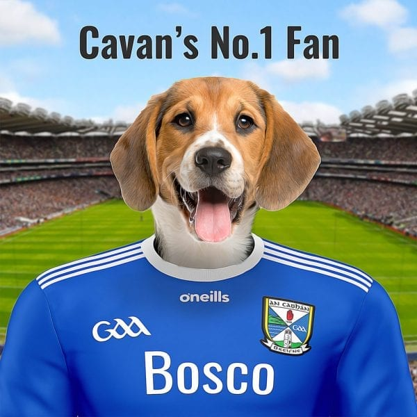 Picture Parcels GAA pet portraits are a real hit with Cavan GAA fans. Ideal as a gift that looks great in any Cavan GAA fans home or business. This unique and very personalised GAA gift is a family pet portrait in Cavan's GAA colour in Croke Park - GAA headquarters. Done in an oil paint style on gloss ceramic, this art comes all ready framed - so no extra expense framing. Order from our online store and we can deliver worldwide. This Irish made GAA gift is a quality gift!