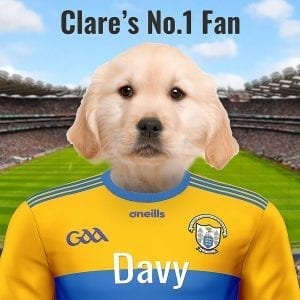 A GAA gift for the Banner county. This is a unique item for Clare GAA fans - a family pet portrait. Your family pet in an oil portrait style on gloss ceramic, in a real wood frame. A quality Irish made GAA gift for the Clare GAA fan. You can design this GAA fans gift online, upload your pets photo and add your own text - we'll look after the rest. A really wonderful gift for the Clare GAA fanatic and pet owner!