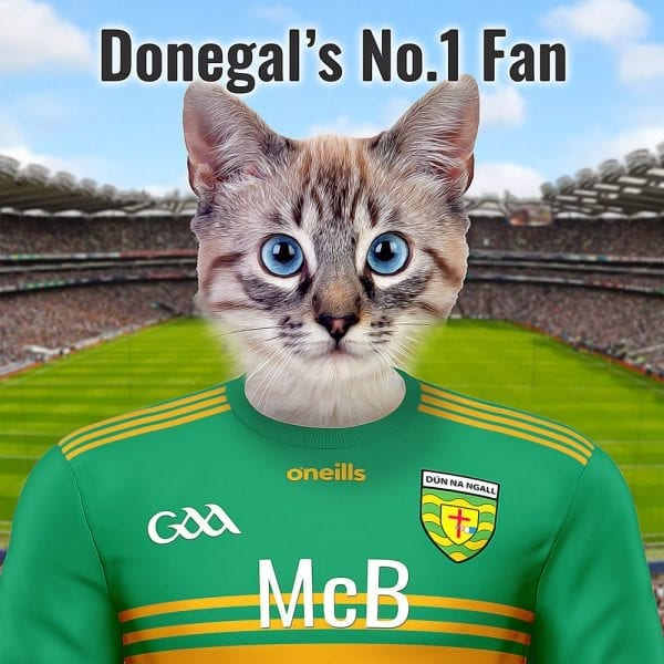 A unique pet portrait for the Donegal GAA fan. You can personalise this pet portrait by adding your own pet and changing the text. Its a beautiful and very different GAA gift. Handmade in Ireland, this Donegal GAA fans item is sure to be talking point in any GAA fans home.