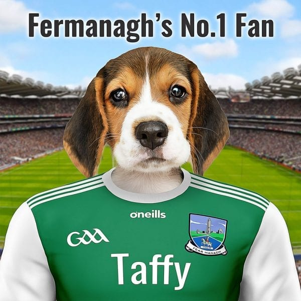 Picture Parcel GAA pet portraits are a great way to display your sporting and pet passions. This is for Fermanagh GAA fans. Your own pet dressed in Fermanaghs GAA gear in front of Croke Park - Yes your pet at Croke Park! This GAA gift comes already framed - ready for display. This Fermanagh GAA Fan Gift is made here in Ireland. We have fast turnaround and can deliver anywhere. You design this Fermanagh GAA gift online and we'll look after the rest.