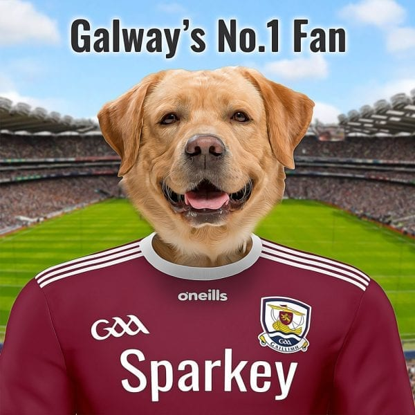 Unique GAA gift for Galway GAA fans. Any Tribesman will love this family pet portrait in the Galway GAA county colours. This oil paint effect on ceramic is a very unique and much loved GAA gift. Your family pet in Galway colours in front of Croke park. this pet portrait comes in a handmade real wood frame- ready for display. You design it online and add your own text - we'll look after the rest. Made at home here in Ireland - we deliver worldwide.