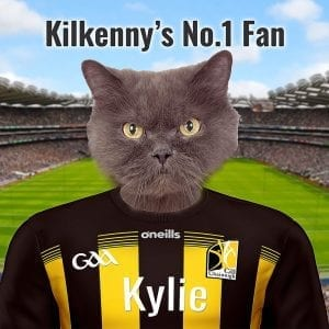 A very personal and unique GAA gift for any Kilkenny GAA fan. Looking for a unique item for the Kilkenny GAA fan thats also a pet owner - this is puurfect! Your pet, can be dog, cat, hamster, sheep, budgie, anything... as long as you have a pet photo -we can put them in Kilkenny teams county GAA colours. They will be in front of Croke Park - and you can add your own text. Our pet portraits come already framed in a real wood frame. Picture Parcel pet portraits are handmade in Ireland and we can deliver to any GAA fan worldwide.