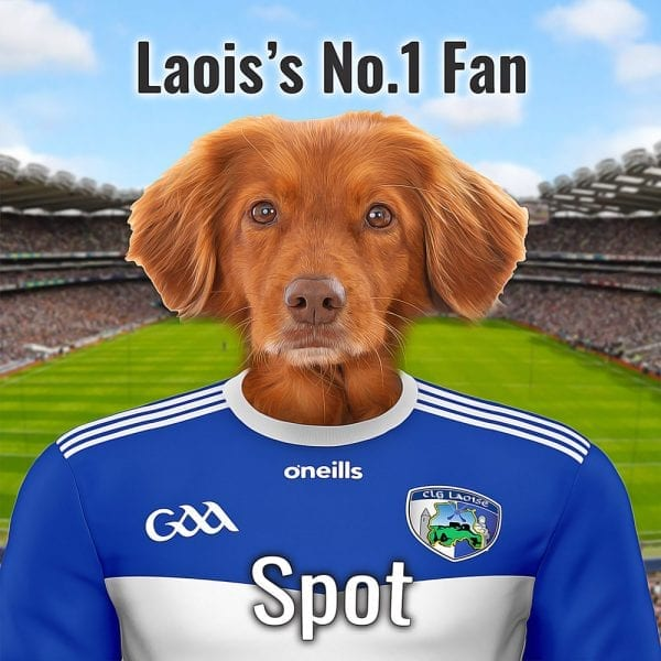 Laois GAA fans will love this unique GAA gift. Put your pet in Laois GAA county colours and place them in front of Croke Park. This is on a gloss ceramic and comes already framed - ready for display in a Laois GAA fans home. You can design this gift online and we'll do the rest. we deliver this GAA gift worlwide, and its made in Ireland.