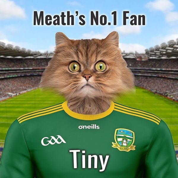 A unique GAA gift for any Meath GAA fan. Those from the Royal County will really enjoy and cherish this personalised one-off present. It looks fantastic in any sports fans home. This image is your pet dressed in County Meaths GAA county team colours. Croke Park is in the background. Dione in an oil paint style, its on a gloss ceramic art tile and comes in its own handmade wood frame. this is made at home here in Ireland and we can deliver worldwide. Every Meath GAA fan and pet owner should have one.