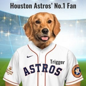 "Houston Astros The Houston Astros American MLB baseball teal changed its name to the Astros - citing ""Houston the city as the space age capital of the world,"". The change was likely also motivated by pressure from the Colt Firearms Company, which objected to the use of the Colt .45 nickname. Picture Parcel Pet portraits digitally paint your pet in the Houston Astros team colours. Oil painting style on a piece of ceramic art. Framed in a real-wood frame. Fantastic gift for all Houston Astros fans and pet owners. You can design your pet portrait online and we look after the rest. This is a custom made baseball Cleveland Indians fan gift suitable for any occasion. Handmade in Ireland - our personalised pet portraits are delivered worldwide."