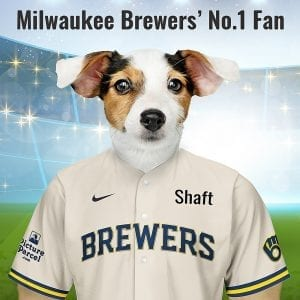"Milwaukee Brewers The Milwaukee Brewers baseball team nickname, ""Brewers"" is a nod to Milwaukee's beer industry. Fantastic gift for all Milwaukee Brewers fans and pet owners. You can design your pet portrait online and we look after the rest. This is a custom made baseballMilwaukee Brewers fan gift suitable for any occasion. Handmade in Ireland - our personalised pet portraits are delivered worldwide. Milwaukee Brewers fans that are also pet owners will love this personalised, fun and thoughtful gift."