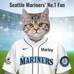 Seattle Mariners Looking for an unusual gift for a Seattle Mariners fan? Picture Parcel Pet portraits digitally paint your pet in the Seattle Mariners team colours. Oil painting style on a piece of ceramic art. Framed in a real-wood frame. Fantastic gift for all Cleveland Indians fans and pet owners. You can design your pet portrait online and we look after the rest. This is a custom made baseball Seattle Mariners fan gift suitable for any occasion. Handmade in Ireland - our personalised pet portraits are delivered worldwide. Seattle Mariners name came about In 1976, the Seattle Baseball club officials chose the nickname Mariners as the new name from more than 600 suggestions in a name-the-team contest.