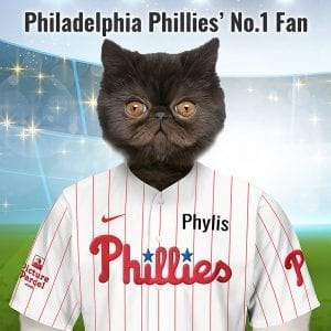 Philadelphia Phillies The Philadelphia Phillies baseball team were originally known as the Quakers, then the Philadelphias, which soon became Phillies. Looking for an unusual gift for a Philadelphia Phillies fan? Picture Parcel Pet portraits digitally paint your pet (dog, cat, any pet) in the Philadelphia Phillies team colours. Oil painting style on a piece of ceramic art. Framed in a real-wood frame. Fantastic gift for all Philadelphia Phillies fans and pet owners. You can design your pet portrait online and we look after the rest. This is a custom madePhiladelphia Phillies baseball fan gift suitable for any occasion, birthday, Christmas, new home etc...