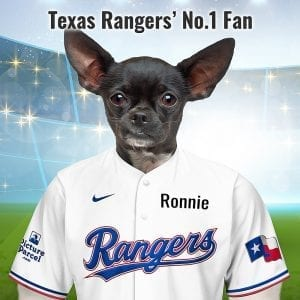 Texas Rangers Fantastic, unique and personalised gift for all Texas Rangers fans and pet owners. You can design your pet portrait online and we look after the rest. This is a custom made baseball Texas Rangers fan gift suitable for any occasion. Handmade in Ireland - our personalised pet portraits are delivered worldwide. Texas Rangers that are also pet owners will love this personalised, fun and thoughtful gift.