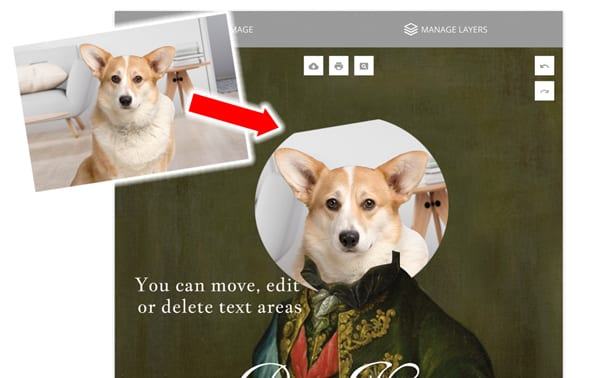 Picture Parcel pet portrait design software. Create a beautiful pet portrait online. The most unique and beautiful pet portrait gift.