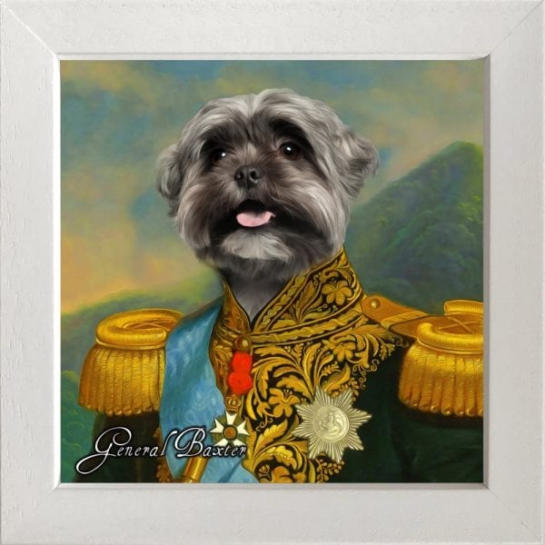 ⭐⭐⭐⭐⭐ 5 star reviews Voted best portraits for pets. Comes with frame included - this is example of chunky white frame.