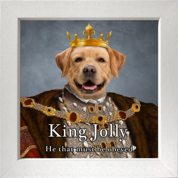Dog King with crown pet portrait. Picture Parcel Award winning art.