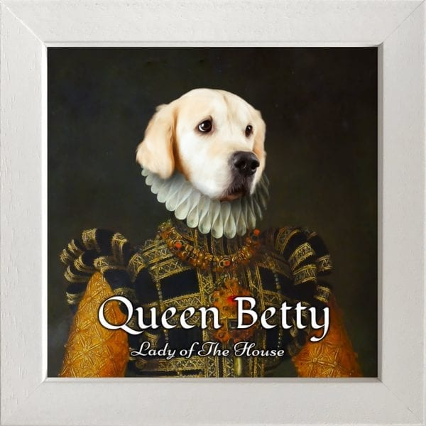 Queen pet portrait on high gloss ceramic. Comes framed - choice of frames. Shipped worldwide delivery. Made with real care, love and affection.