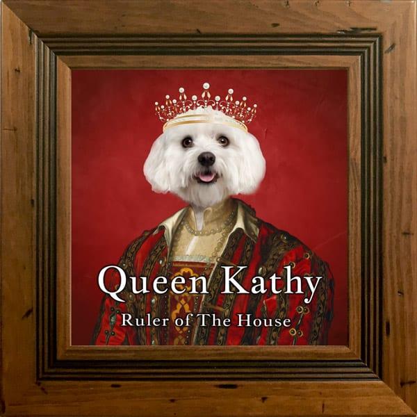 Royal Pet Portrait on Framed Ceramic Art. Renaissance Portrait of you pet. Choice of Frames.
