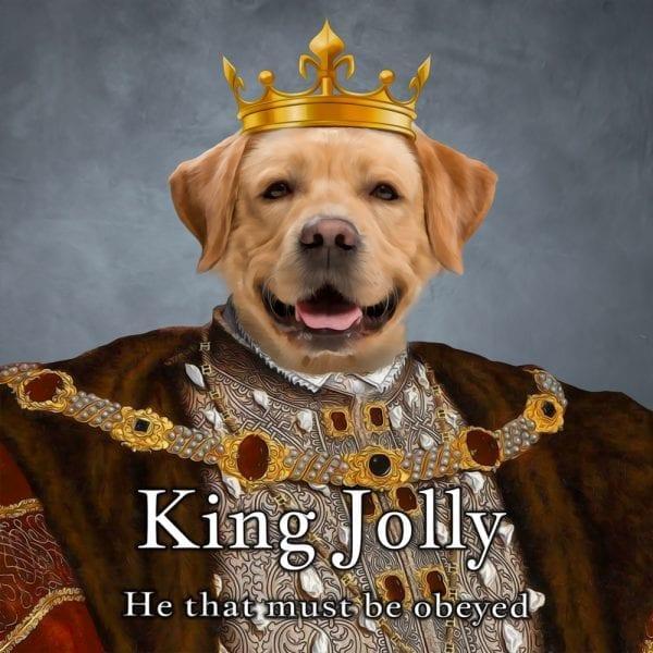 Dog King Portrait. Personalised Renaissance pet portraits.
