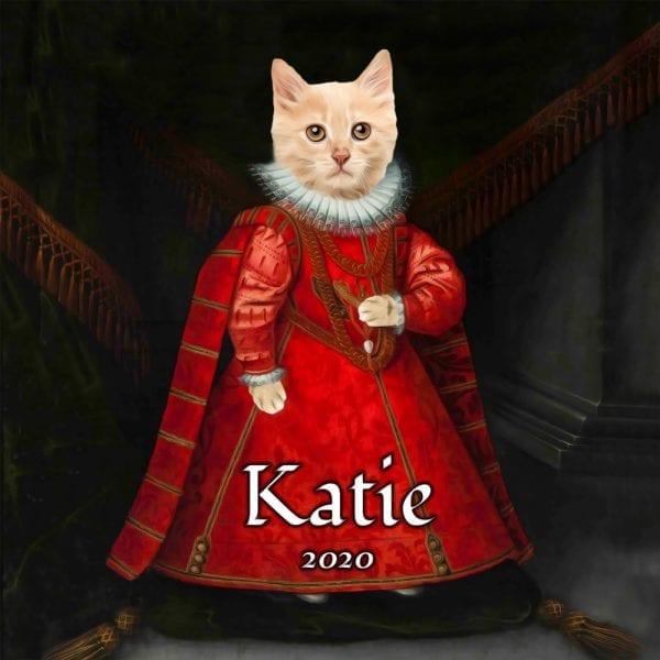 Kitty Portraits. Cute Kittie painting in Renaissance costume.
