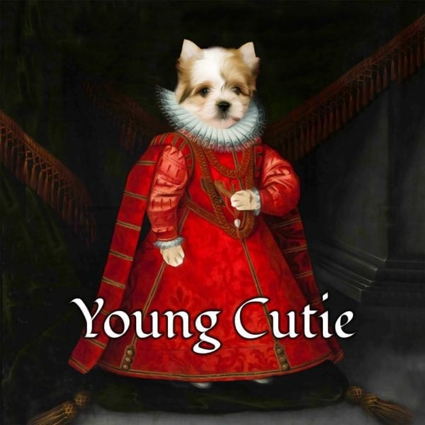 Puppy Portraits. Cute puppy painting in Renaissance costume.