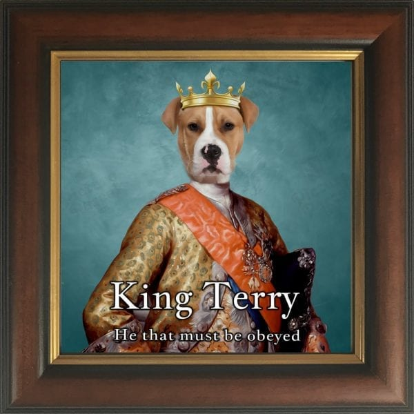 118- Dog King Portrait Ireland in a Gold and Brown Frame