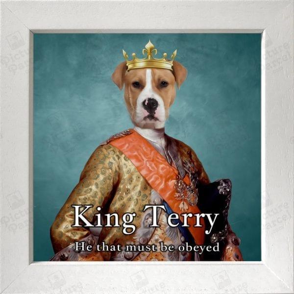 118- Dog King Portrait Ireland in a white Frame