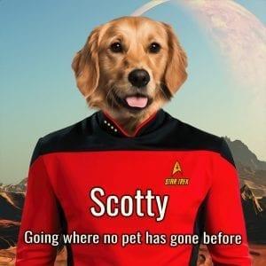 Star Trek Pet portrait. Great gift for a Trekkie Fan.