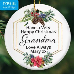 Christmas Ornament –  Your Text with Christmas Border