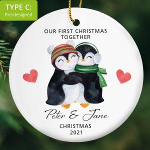 Two penguin hugging personalised ornament.