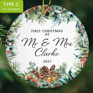 106 – Couple's First Christmas as Mr and Mrs (Ceramic Ornament)