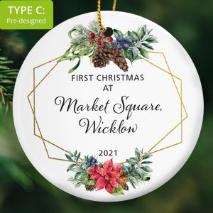 107 – First Christmas at address (Ceramic Ornament)