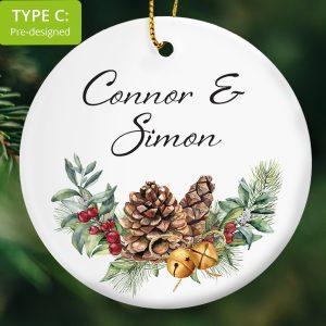108 – Couple's Gift – Pine Cones (Ceramic Ornament)