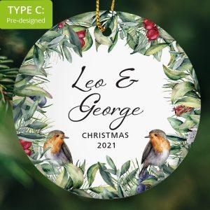 110 – Couple's Christmas Gift – Robins (Ceramic Ornament)