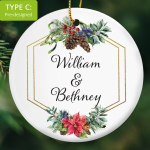 111 – Couple's personalised first names Gift (Ceramic Ornament)