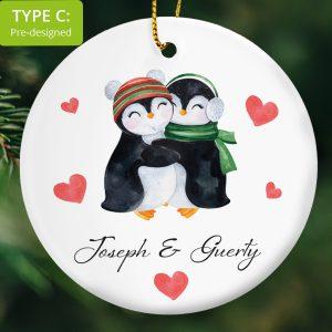 112 – Couple's Christmas gift – hugging penguins (Ceramic Ornament)