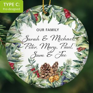 114 – Family Gift – Our Family members (Ceramic Ornament)