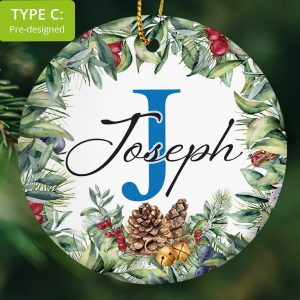 118 – Boy's first name and cap letter gift (Ceramic Ornament)
