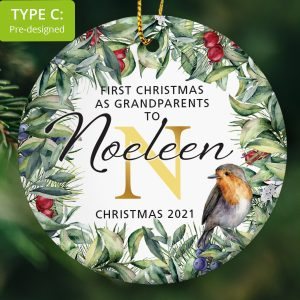 121 – Grandparents First Christmas – Large Name (Ceramic Ornament)